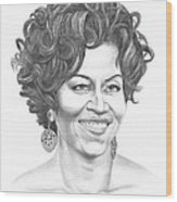 Michelle Obama Wood Print by Murphy Elliott