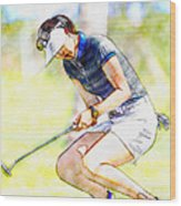 Michelle Wie Reacts After Missing A Putt On The 15th Hole Wood Print