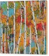 Middle Mountain Aspens Wood Print