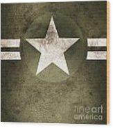 Military Army Star Background Wood Print