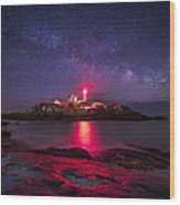 Milky Way Over Nubble Lighthouse Wood Print by Adam Woodworth