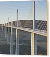 Millau Viaduct At Sunrise Midi-pyrenees France Wood Print