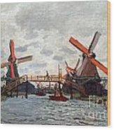 Mills At Westzijderveld Near Zaandam Wood Print