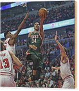 Milwaukee Bucks V Chicago Bulls - Game Wood Print