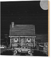 Miniature Log Cabin Scene With Old Time Vintage Classic 1930 Packard Labaron In Black And White Wood Print by Leslie Crotty
