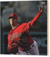 Minnesota Twins V Los Angeles Angels Of Wood Print