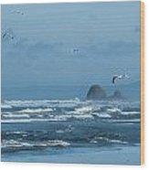 Misty Copalis Rock And Gulls Wood Print