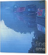 Misty Morning On The Grand Union Canal Wood Print