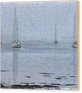 Misty Sails Upon The Water Wood Print