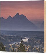 Misty Teton Sunset Wood Print