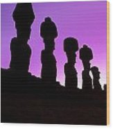 Moais Easter Island Chile Wood Print