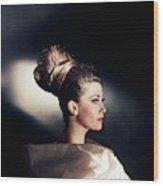 Model Wearing Hairpiece Wood Print