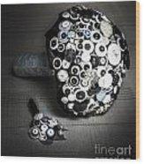 Modern Button Design Wedding Bouquet Wood Print