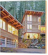 Modern Home In Woods Wood Print by Will Austin