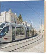 Modern Tram In Central Jerusalem Israel Wood Print