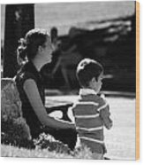 Mom And Son In The Park Wood Print