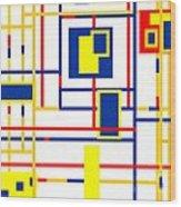 Mondrian Color Teraphy Wood Print