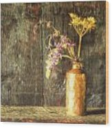 Monet Style Digital Painting Retro Style Still Life Of Dried Flowers In Vase Against Worn Woo Wood Print