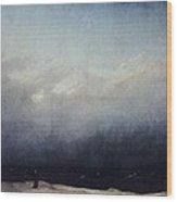 Monk By Sea Wood Print