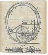 Monocycle Patent 1894 - Vintage Wood Print