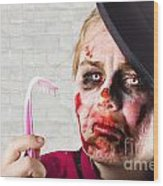 Monster Holding Sad Toothbrush. Rotting Teeth Wood Print
