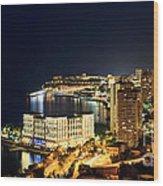 Monte Carlo Cityscape At Night Wood Print
