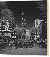 Monument To The Castellers On Rambla Nova Avenue In Central Tarragona Catalonia Spain Wood Print