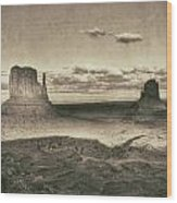 Monument Valley Aged Black And White Wood Print