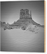 Monument Valley - West Mitten Butte Bw Wood Print