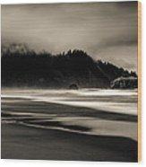 Moody Oregon Beach Wood Print