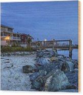 Moon Over Dewey Beach Wood Print