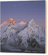 Moon Over Mount Everest Summit Wood Print