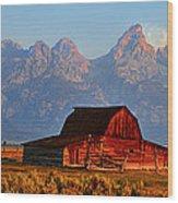 Mormon Row And The Grand Tetons  Wood Print