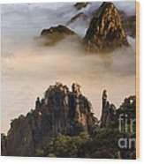 Morning Fog China Mountains  Wood Print
