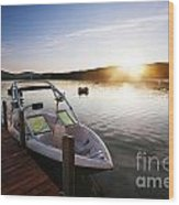 Morning Sun On The Lake Wood Print