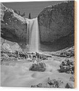 Mossy Cave Waterfall Bw Wood Print