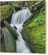 Mossy Rocks On Cascade Wood Print