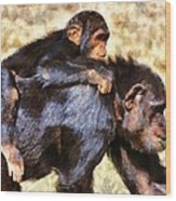Mother Chimpanzee With Baby On Her Back Wood Print