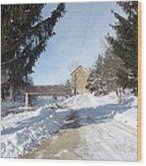 Motor Mill Winter Wood Print
