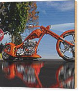 Motorcycle Reflections Wood Print