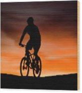 Mountain Biker At Sunset, Moab, Utah Wood Print