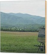Mountain Range Painting Wood Print