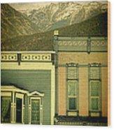 Mountain Town Wood Print