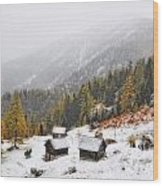 Mountain With Snow Wood Print