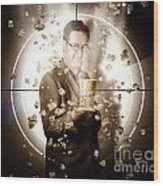 Movie Man Holding Cinema Popcorn Bucket At Film Wood Print
