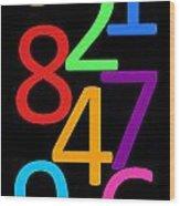 Multi-color Numbers Wood Print