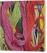 Multicolored Embroidery Thread Mixed Up  Wood Print
