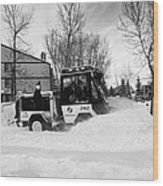 municipal city mini tractor clearing sidewalks and roads in Saskatoon Saskatchewan Canada Wood Print by Joe Fox