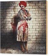Murderous Monster Clown Standing In Full Length Wood Print
