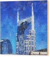 Nashville Skyline Wood Print